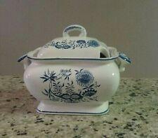 New listing Covered Soup Tureen Blue Onion Floral Design Vintage Vegetable Serving Dish