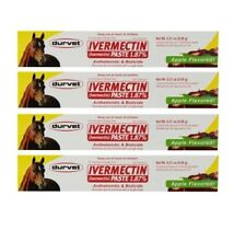 Horse Wormer Equine Ivermectin Durvet 4 Tubes 1.87% Apple Flavored Paste