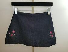 BLUE ASPHALT Junior's Blue Jean Pink Flowers Tied Back Side Split Skort Size 3