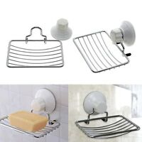 Stainless Strong Suction Wall Soap Dish Holder Basket Bathroom Shower Tray Cup