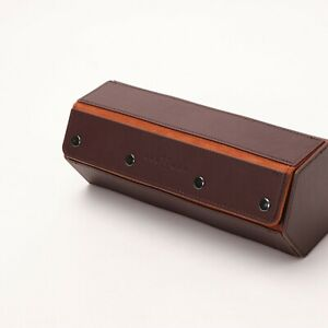 KAUFFMAN Hexagon Leather Brown/ Navy/ Black 3 Watch Travel Roll Case -Discounted