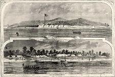 Craney Island Portsmouth Virginia Sewells Point CSA Batteries 1861 Antique Print