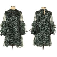 Anthropologie Ranna Gill Womens Black Green Floral Mirror Beaded Dress Size XS