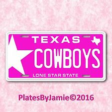 Pink Dallas Texas Star Cowboys NFL Football Team TX Aluminum License Plate Tag