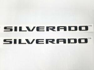 2pcs 2019-2020 SILVERADO Door Fender Letter Emblem Badges OEM Decal Gloss Black