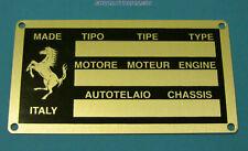 Ferrari 246 308 ( + other Ferrari Classics) Engine Chassis Id Plate New