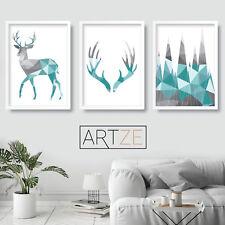Set of 3 Geometric Art Prints Aqua Blue Stag Antlers Poster Picture Decor