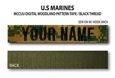 Custom US MARINES Name Tape (Woodland) Hook Fastener Backing *Name is Required*