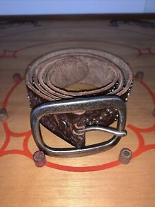 """Women L Brown Leather Studded Tooled Wide BOHO Hippie Western 43.5"""" L 1.5"""" W"""