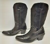 REFUGE Western Cowboy Fashion Boots Faux Leather Snip Toe Black Women's Size 7