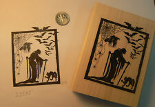 Witch with raven rubber stamp-WM Halloween P36