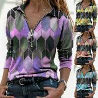 Women Printed T-shirt Zipper Pullover V-Neck Long Sleeve T-Shirt Tops D5S6