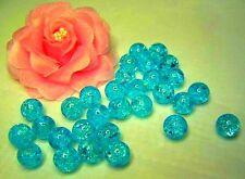 0,10€/Stk 30 Glas-Crash-Perlen Crackle 12mm türkis gebrochen Beads Neu