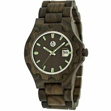 NEW Earth EW3302 Unisex GILA Series Eco-Friendly Date Round DarkBrown Wood Watch