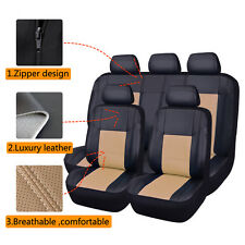 Universal Car Seat Covers Faux Leather Black Beige Full Seat Airbag Breathable