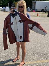 XXL 2XL Throwback Avirex New York Leather Jacket Cycle Pro Motorcycle Jacket Red