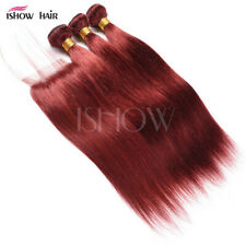 Red Wig Straight Hair Pure Color Real Hair Curtain 33 # Straight Human Hair Wig