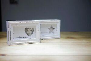 Shabby Chic white wooden trinket box - A Star is Born (Heart Shape)
