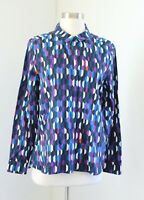 Kate Spade Saturday Blue Color Block Geometric Button Down Blouse Shirt Size M