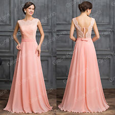 Clearance LACE Formal Long Homecoming Bridesmaid Wedding Prom Light Pink Dress.