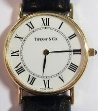 Vintage 14k Gold Mens Tiffany & Co. Watch White Roman Dial 60-501
