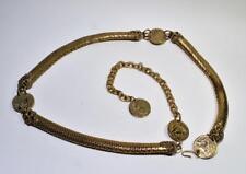 "Vintage WHITING & DAVIS? Napoleon Coins FISH SCALES Shape 40"" long Belt Necklace"