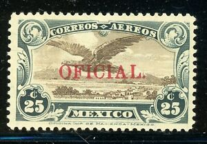 MEXICO MNH Air Post Selections: Scott #CO2 25c Green/Brown RED OVPT CV$4++