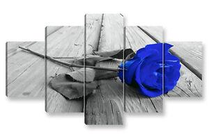 Quadro Moderno 5 pz. ROSA BLU cm 150x90 arredamento arredo stampa su tela fiori