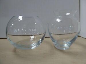 2 Glass Vases Modern Round Flower Vases C28