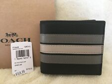 NWT Coach 3 In 1 Leather Wallet Mens - PCD Varsity Stripe - Black Grey Chalk NWT