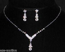 Marvelous Bridal Silver Clear Rhinestone Sample Necklace, Earrings Set 7653