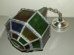 Vintage Mid Century Deco Stained Glass Hanging Ceiling Chandelier Lamp Light