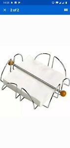 Chrome Wire Serviette Holder Napkin Dispenser Kitchen Dining Room Table Decor