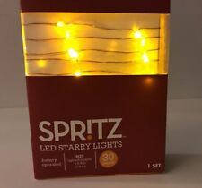 Spritz Amber Led Starry Lights Battery-Operated 30 Light String 4ft 9in New Box
