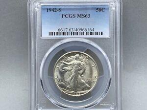 1942-S PCGS MS 63 Walking Liberty Half Silver Dollar! Premium Original Coin!