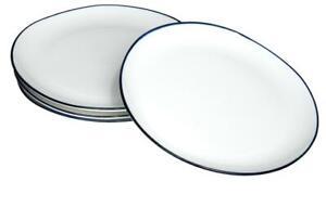 Blue rim Ocean Wave White ceramic large plates 26cm X 6