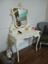 Handmade French Bordeaux Dressing Table In Cream - Vanity Table With Mirror
