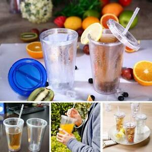 500ml Tumbler Cup With Straw Reusable Double Walled 16oz Iced Cold Drink Mug NEW