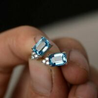 4Ct Emerald Cut Aquamarine Solitaire Stud Earrings Solid 14K White Gold Finish