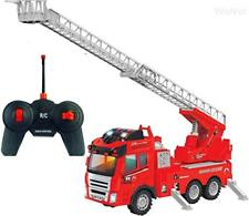Remote Control Electric Fire Truck Toy with Extending Ladder & Sounds