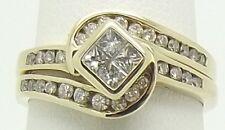9CT YELLOW GOLD DIAMOND 2 X RING SET WEDDING & ENGAGEMENT RINGS - VALUED $2115