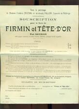PUBLICITE ANCIENNE SOUSCRIPTION LIVRE DE SAVINIAN FIRMIN ET TÊTE D'OR Me MISTRAL