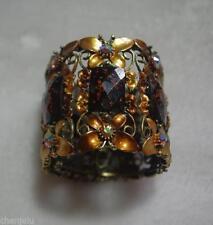 Metall Armband braun - goldene Schmetterlinge mit Kristall Steinen - SEHR SCHÖN
