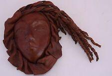 Sculpture Signed Leather Face Mask Impression Hanging Handmade Brown Vintage