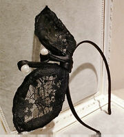 New Women Lady Girl Black Wire Bunny Rabbit Bow Costume Prop Hair headband Hoop