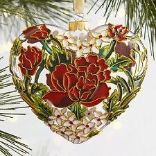 Pier 1 Imports Floral Cloisonne Glass Heart Ornament Xmas Valentines Wedding New