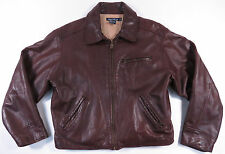 VTG 90S NAUTICA BROWN LEATHER FULL ZIP QUILTED JACKET MOTORCYCLE HUNTING EUC 42