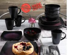 Gibson Home Soho Lounge Square Stoneware 16-piece Dinnerware Set Purple