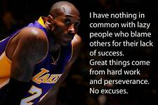 Kobe Bryant Quote LA Lakers Art Wall Indoor Room Outdoor Poster - POSTER 24x36