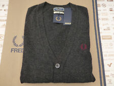 Fred Perry Cardigan Italian Reissues V-neck Size 42 Navy Lambs Wool Top